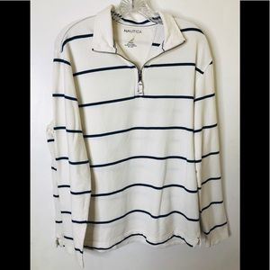 Nautica Men's | Sweater | White with Blue Stripes
